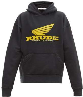 Rhude Rhonda Print Cotton Hooded Sweatshirt - Mens - Black