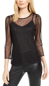 INC International Concepts Inc Plus Size Glitter-Dot Mesh Top, Created for Macy's