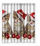 Shower Curtains Modern design Eco-Friendly Animal Pet Cute Christmas Cats Shower curtain, (W*H) 60 * 72 inch / 152 * 183cm, Polyester, best for gift