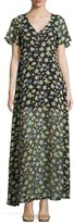 Lucca Couture Libby Floral-Print Chiffon Maxi Dress, Black