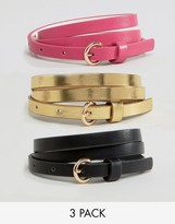 Asos 3 Pack Multi Colored Skinny Waist And Hip Belts
