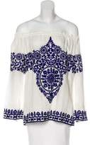 Naeem Khan Embroidered Linen Top