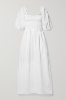 La Ligne Daisy Smocked Cotton-poplin Midi Dress