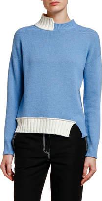 Marni Two-Tone Asymmetric Turtleneck Sweater