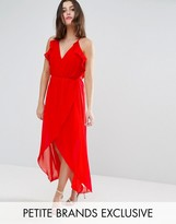 TD By True Decadence Petite Frill Detail High Low Midi Dress With Strappy Back