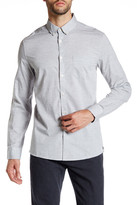 Kenneth Cole New York Collared Long Sleeve Modern Fit Heathered Shirt