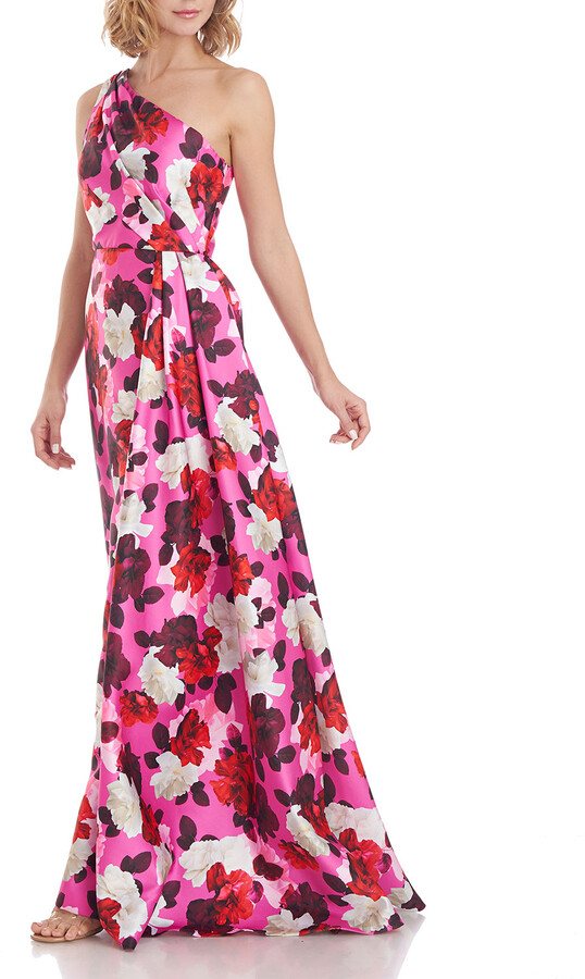 Thumbnail for your product : Theia Zibeline Floral One-Shoulder Side-Drape Gown