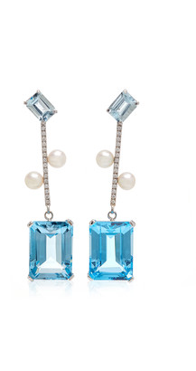 Mateo 14K White Gold And Multi-Stone Earrings