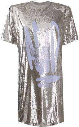 Off-White Graffiti-Print Sequinned Dress