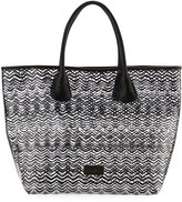 Neiman Marcus Squiggle-Stripe Clear Tote Bag, Black