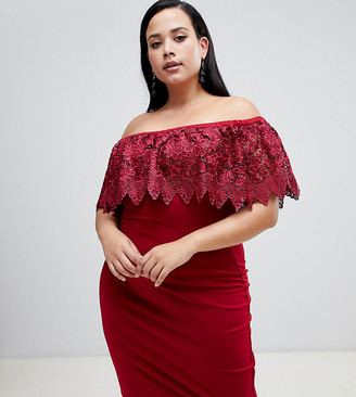 Paper Dolls Plus lace overlay bardot pencil dress in red