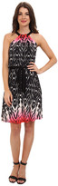 Maggy London Printed Jersey Halter w/ Self Belt And Flare Skirt