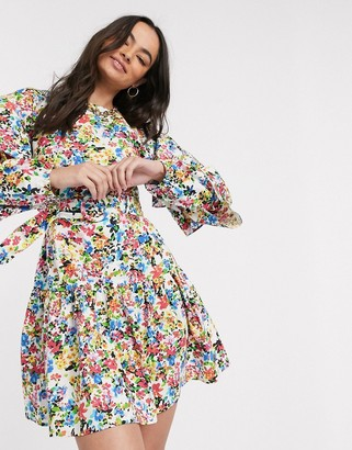 Neon Rose mini dress with tiered sleeves and belt in vintage floral