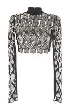 David Koma Embellished Lace Long Sleeve Cropped Top