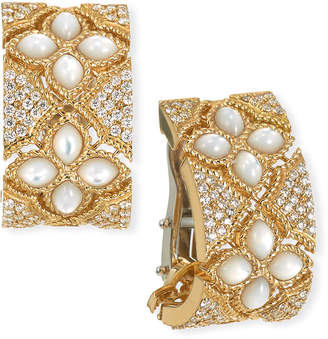 Roberto Coin Venetian Princess 18k Mother-of-Pearl Diamond Huggie Earrings