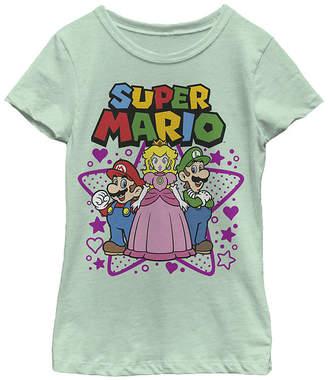 Fifth Sun Nintendo Super Mario Peach Luigi Trio Stars And Hearts Girls Crew Neck Short Sleeve Graphic T-Shirt - Preschool / Big Kid Slim