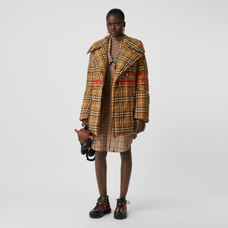 Burberry Horseferry Print Check Down-filled Oversized Pea Coat