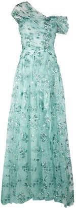 Pamella Roland Aqua sequin-embellished draped tulle gown