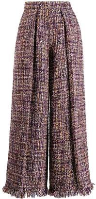 Talbot Runhof Iridescent Tweed Palazzo Pants