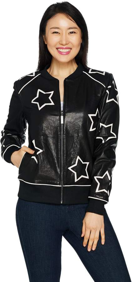Peace Love World Star Applique Leather Jacket w/ Affirmation