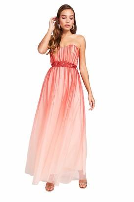 Little Mistress Women's Carissa Grapefruit Floral Belt Maxi Dress Party