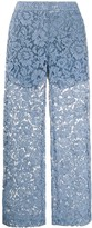 Valentino floral lace flared trousers