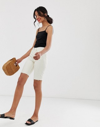 And other stories & denim bermuda shorts in off white