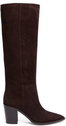 Gianvito Rossi Daenerys Block Heel Suede Boots - Womens - Dark Brown