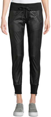 Blanc Noir Faux-Leather Drawstring Jogger Pants