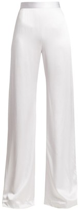 Brandon Maxwell Sueded Charmeuse Wide-Leg Pants