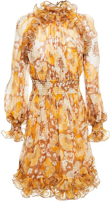 Zimmermann Ruffled Shirred Floral-print Silk-georgette Mini Dress