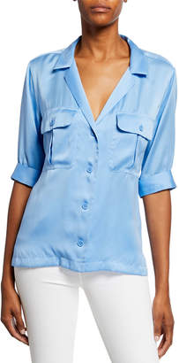 Equipment Parnella Notched-Collar Button-Front Short-Sleeve Shirt