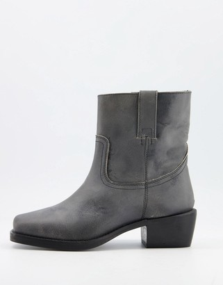 ASRA Maxine square toe pull on boots in grey leather
