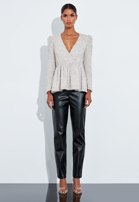 Missguided Silver Embellished Peplum Top