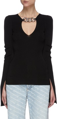 Alexander Wang Split cuff chain embellished rib knit top