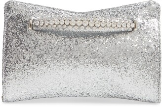 Jimmy Choo Galactica Glitter Clutch with Crystal Bracelet Handle