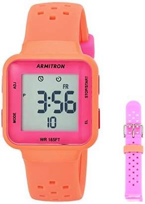 Armitron Sport Women's Digital Chronograph Neon Orange and Neon Pink Interchangeable Silicone Strap Watch