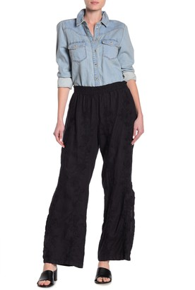 Johnny Was Renee Embroidered Side Slit Linen Palazzo Pants
