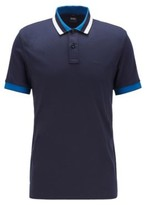 HUGO BOSS - Slim Fit Polo Shirt In Cotton With Striped Collar - Dark Blue
