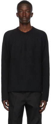 Jil Sander Black Silk and Wool V-Neck Sweater