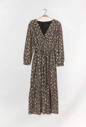 Alresford Linen Black Floral Print Gold Dress - L