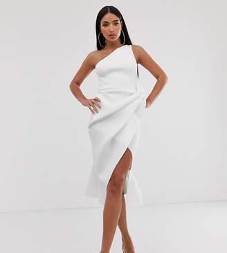 Asos Tall DESIGN Tall one shoulder tucked peplum pencil midi dress-White