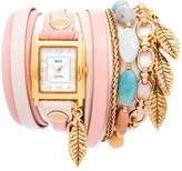 La Mer Aspen Leaf Goldtone Chain and Charm 2-tone Leather Wrap Watch