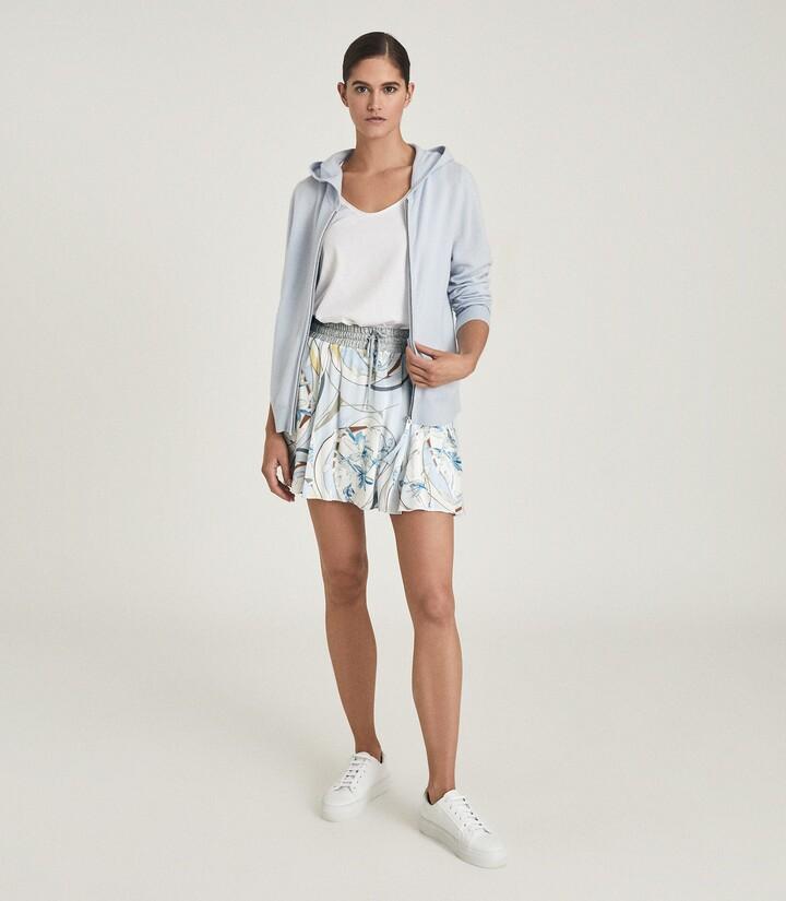 Reiss Yasmine - Swirl Printed Mini Skirt in Blue/Grey