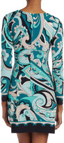 Ali Ro Teal Printed Stretch Jersey Dress
