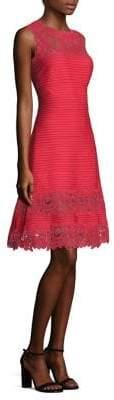 Tadashi Shoji Women's Lace Pintuck Dress - Navy - Size S