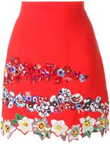 MSGM floral embroidery A-line skirt - women - Viscose/Acetate/Polyester - 40