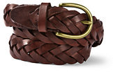Lands' End Men's Leather Braided Belt-Brown