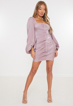 Missguided Mauve Satin Scoop Ruched Front Mini Dress