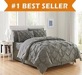 Elegant Comfort Luxury Best, Softest, Coziest 6-PIECE Bed-in-a-Bag Comforter Set on Amazon! Silky Soft Complete Set Includes Bed Sheet Set with Double Sided Storage Pockets, Twin/Twin XL, Gray